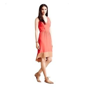 Anthropologie Coral/Beige Color Hi/Low Dress S